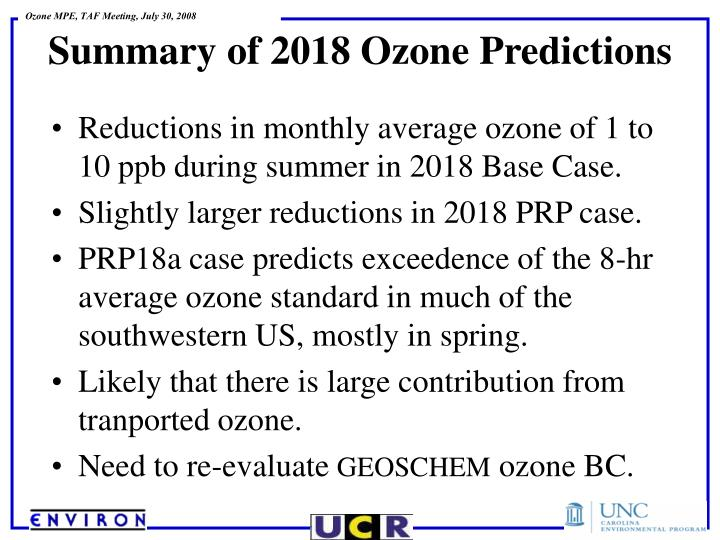 Reductions in monthly average ozone of 1 to 10 ppb during summer in 2018 Base Case.
