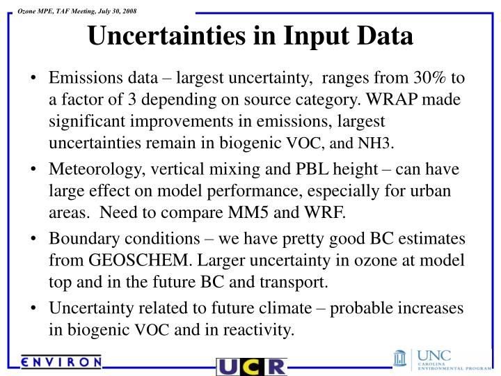 Emissions data – largest uncertainty,  ranges from 30% to a factor of 3 depending on source category. WRAP made significant improvements in emissions, largest uncertainties remain in biogenic