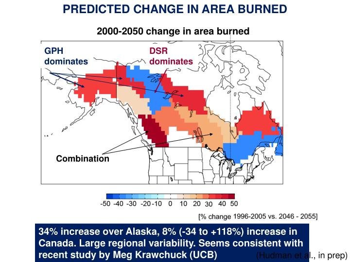 PREDICTED CHANGE IN AREA BURNED