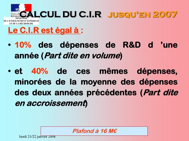 CALCUL DU C.I.R