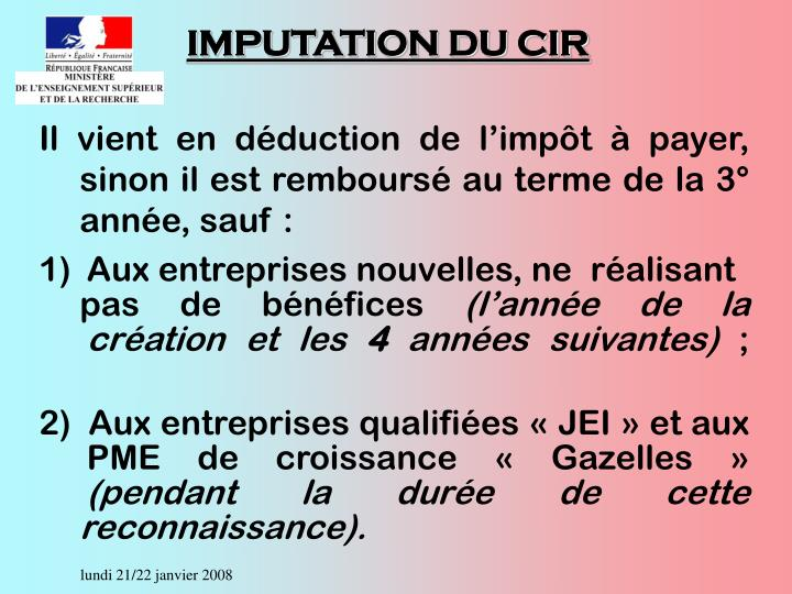 IMPUTATION DU CIR
