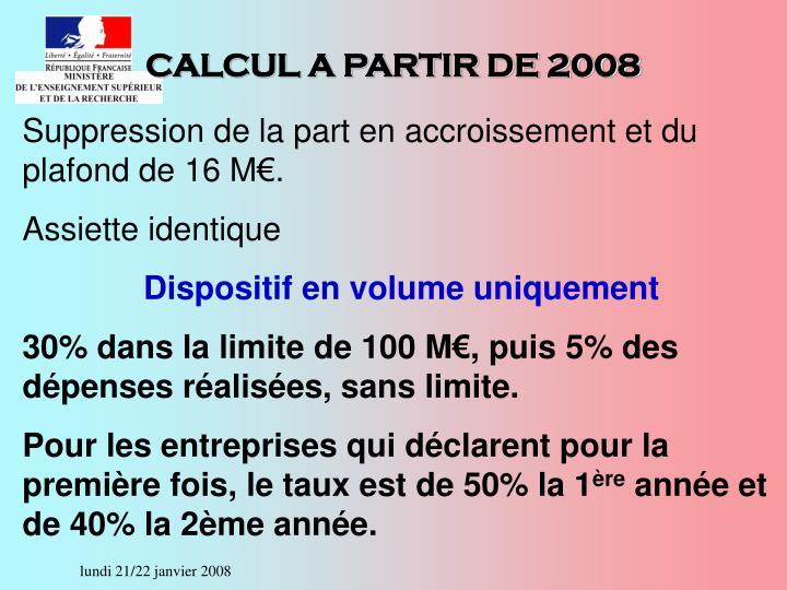 CALCUL A PARTIR DE 2008