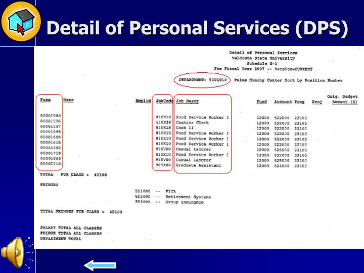 Detail of Personal Services (DPS)