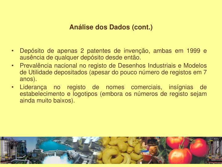Análise dos Dados (cont.)