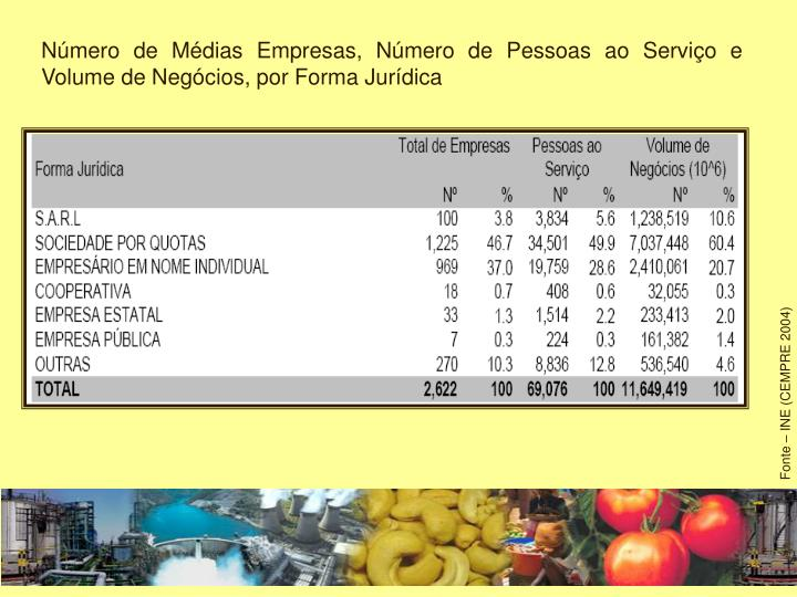 Número de Médias Empresas, Número de Pessoas ao Serviço e Volume de Negócios, por Forma Jurídica