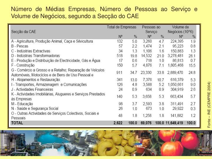 Número de Médias Empresas, Número de Pessoas ao Serviço e Volume de Negócios, segundo a Secção do CAE