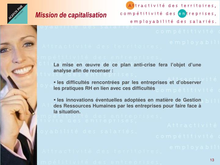 Mission de capitalisation