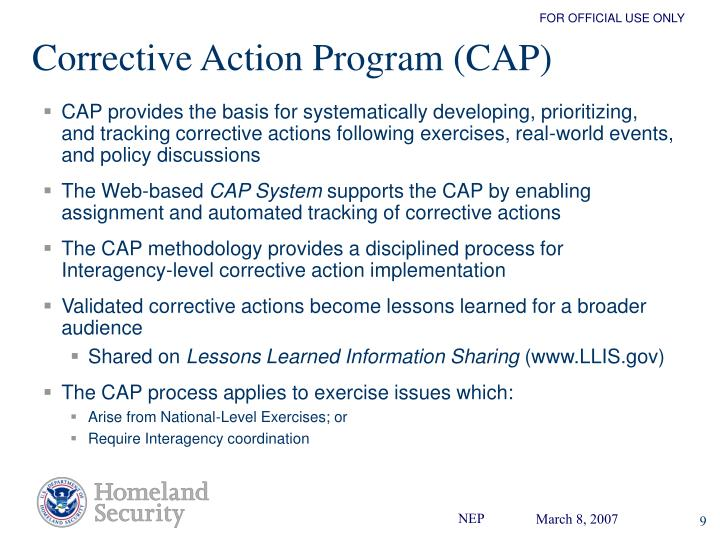Corrective Action Program (CAP)