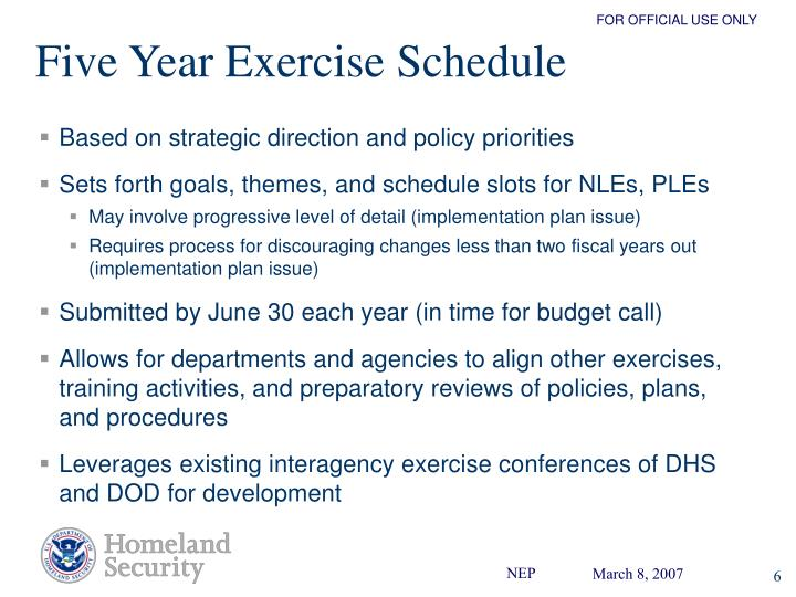 Five Year Exercise Schedule
