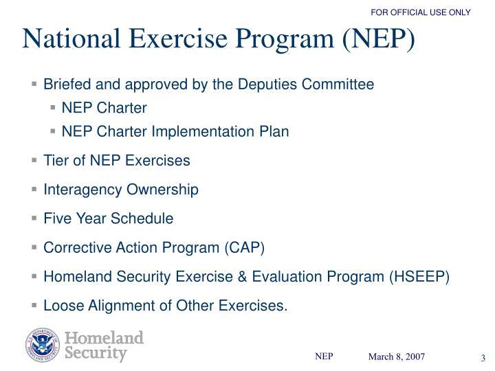 National Exercise Program (NEP)
