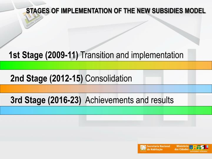 STAGES OF IMPLEMENTATION OF THE NEW SUBSIDIES MODEL