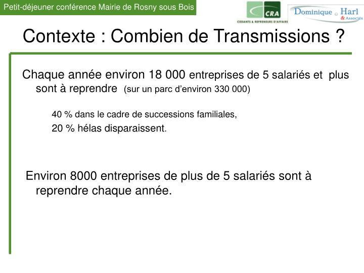 Contexte : Combien de Transmissions ?