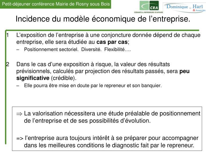 Incidence du modèle économique de l'entreprise.
