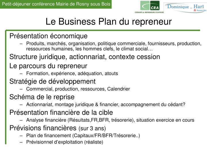 Le Business Plan du repreneur