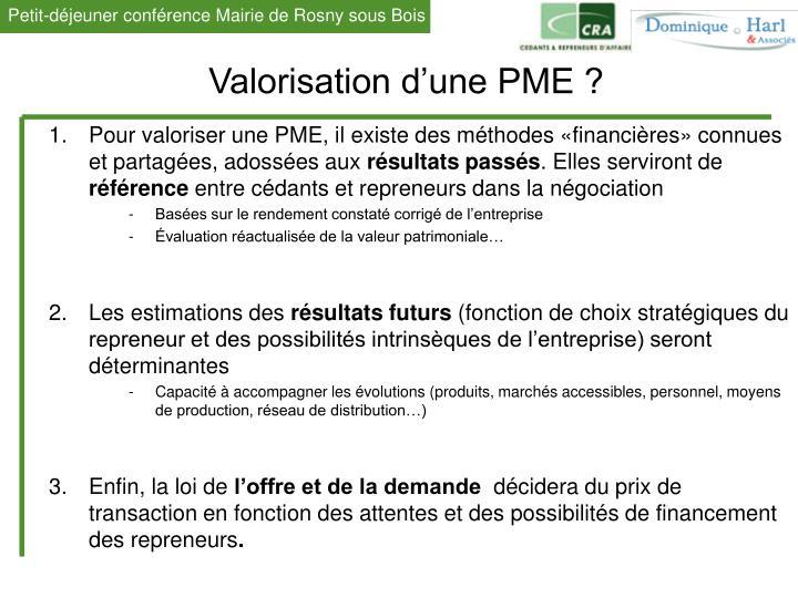 Valorisation d'une PME ?