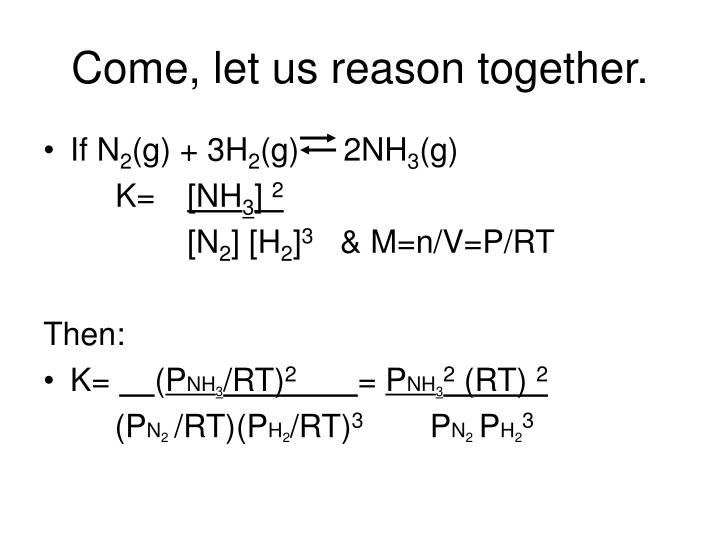 Come, let us reason together.