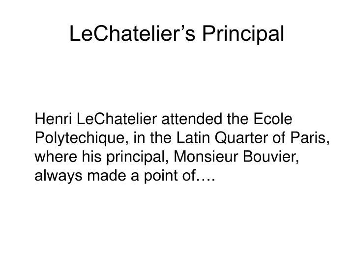 LeChatelier's Principal