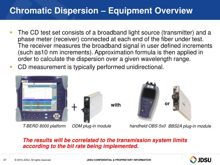 Chromatic Dispersion – Equipment Overview
