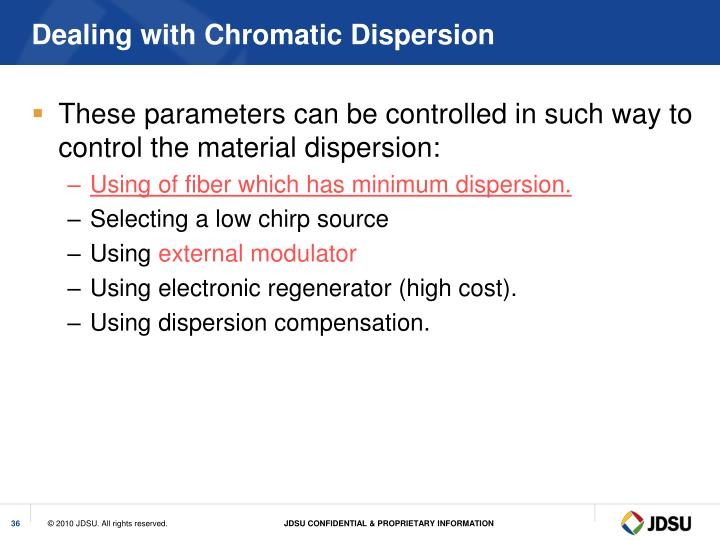 Dealing with Chromatic Dispersion