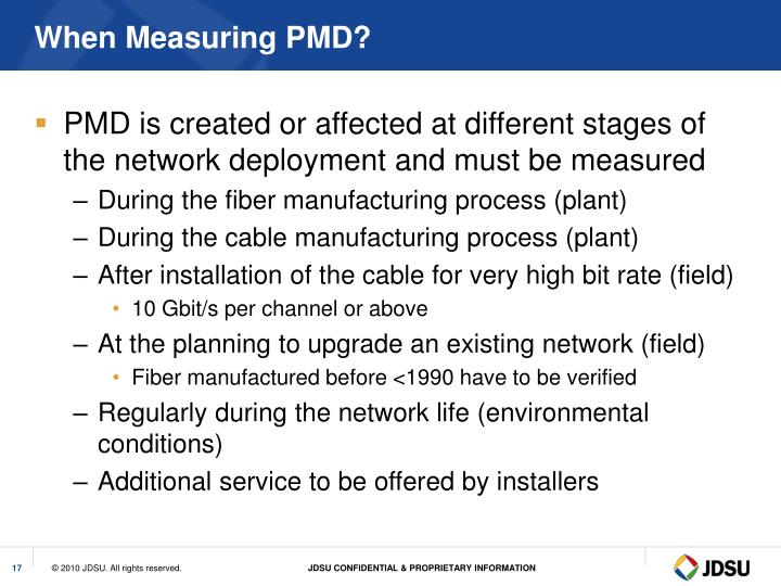 When Measuring PMD?