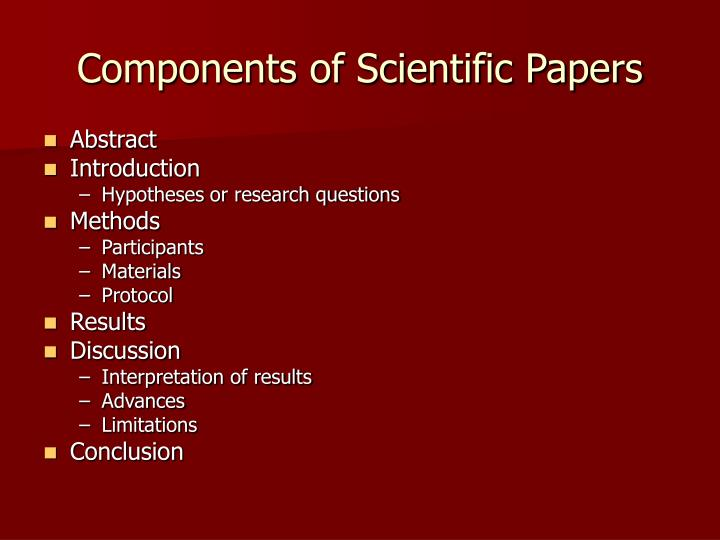 Components of Scientific Papers