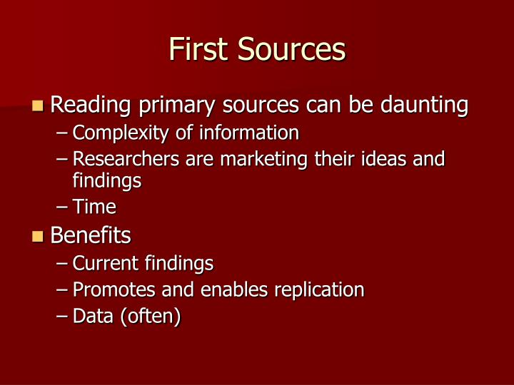 First Sources