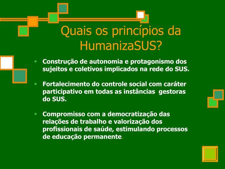 Quais os princípios da HumanizaSUS?