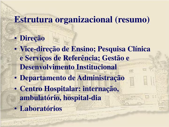 Estrutura organizacional (resumo)