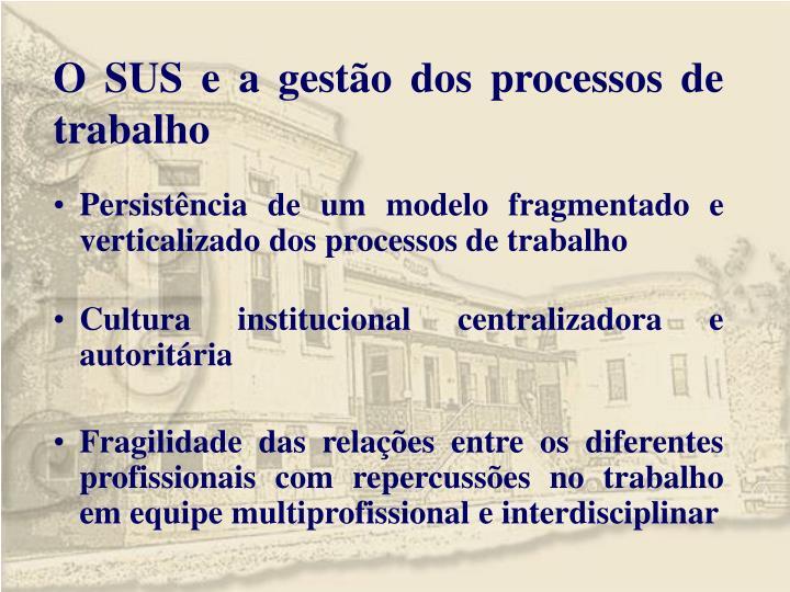 O SUS e a gestão dos processos de trabalho