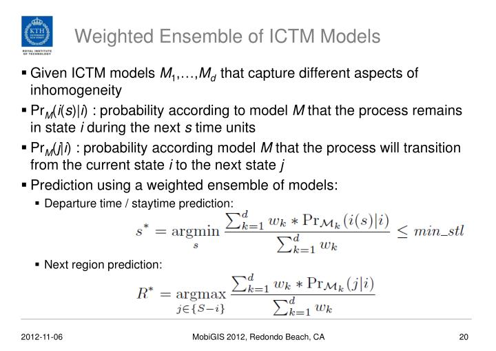 Weighted Ensemble of ICTM Models