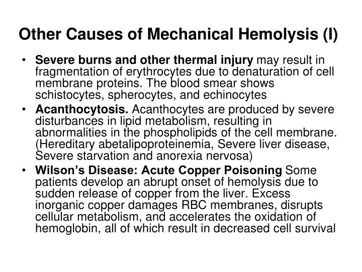 Other Causes of Mechanical Hemolysis (I)