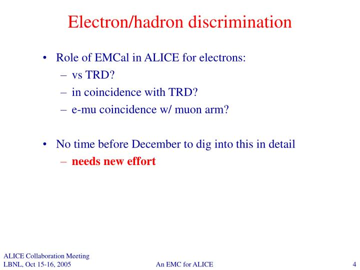 Electron/hadron discrimination