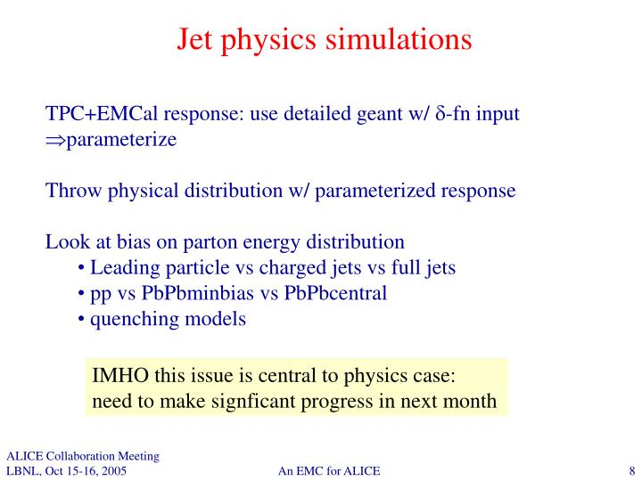 Jet physics simulations