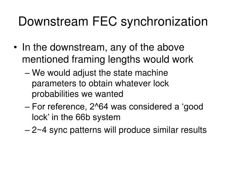 Downstream FEC synchronization
