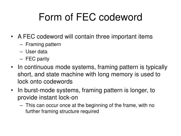 Form of FEC codeword