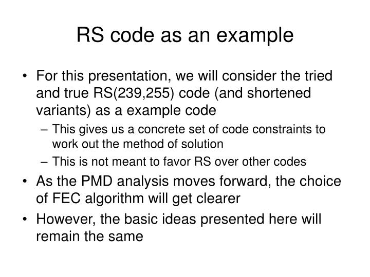 RS code as an example