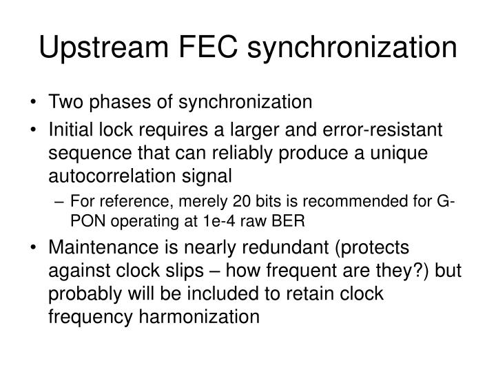 Upstream FEC synchronization