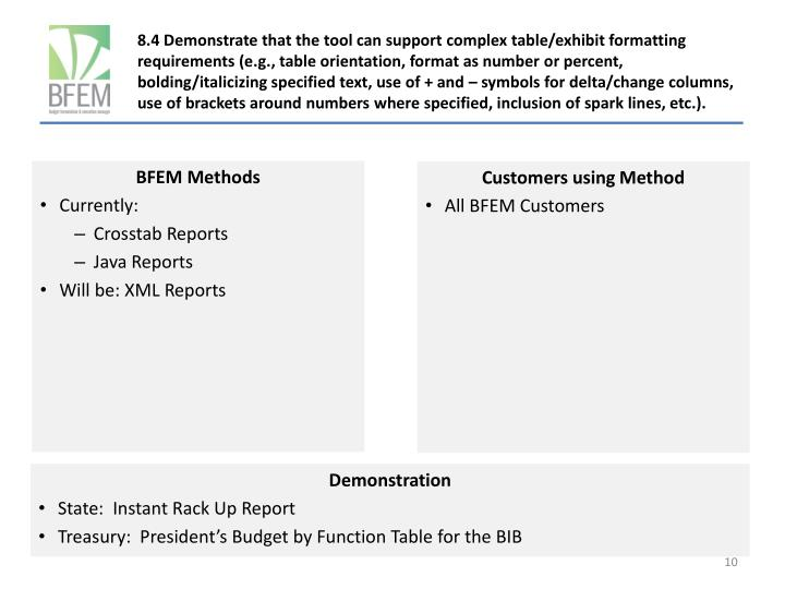 8.4 Demonstrate that the tool can support complex table/exhibit formatting requirements (e.g., table orientation, format as number or percent, bolding/italicizing specified text, use of + and – symbols for delta/change columns, use of brackets around numbers where specified, inclusion of spark lines, etc.).