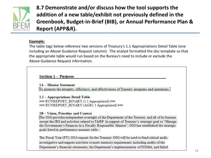 8.7 Demonstrate and/or discuss how the tool supports the addition of a new table/exhibit not previously defined in the