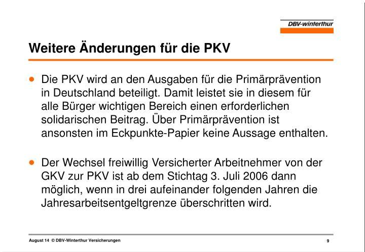 Weitere Änderungen für die PKV