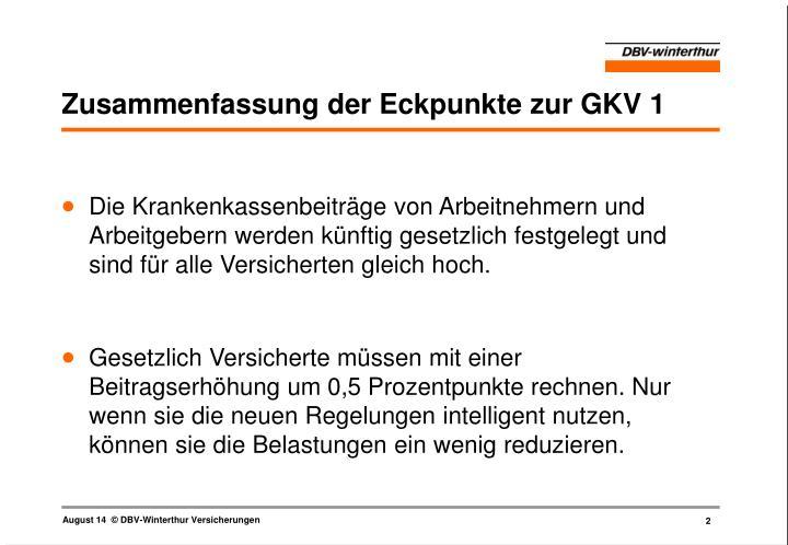 Zusammenfassung der Eckpunkte zur GKV 1