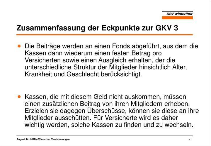 Zusammenfassung der Eckpunkte zur GKV 3
