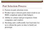part selection process