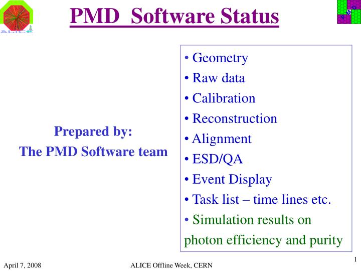 Pmd software status