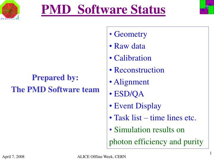 pmd software status