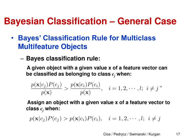 Bayesian Classification – General Case