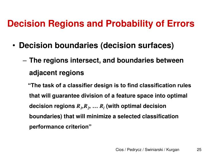 Decision Regions and Probability of Errors