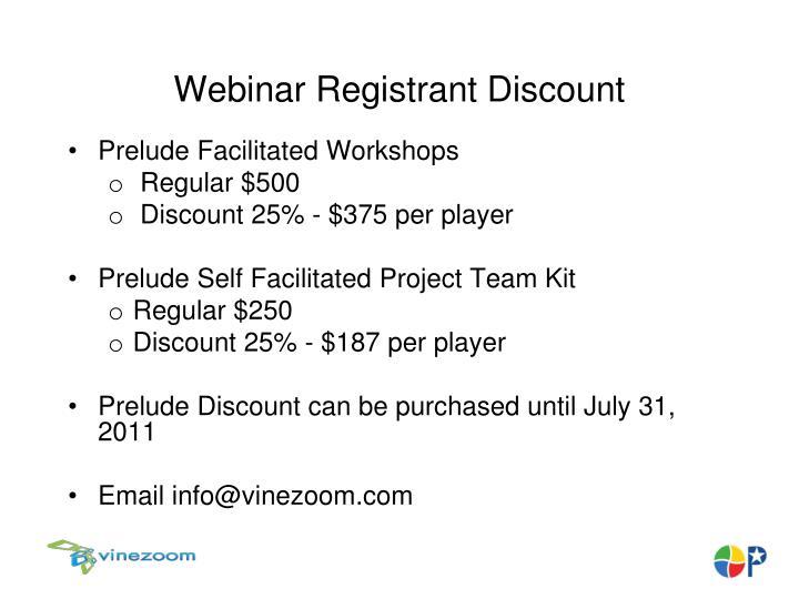 Webinar Registrant Discount