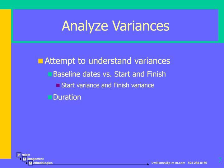 Analyze Variances