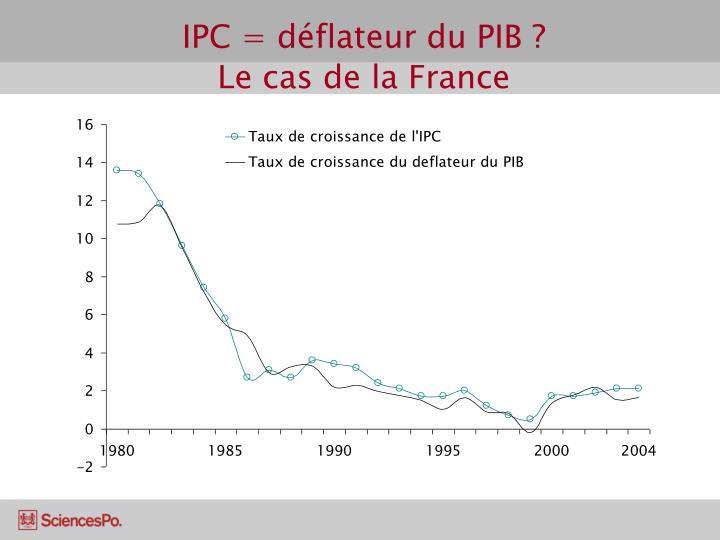 IPC = déflateur du PIB ?